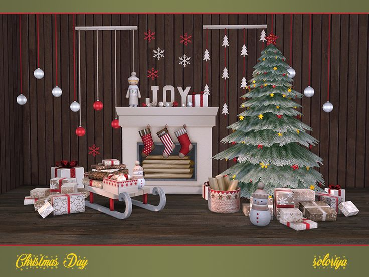 Christmas decorative set. Has 3 color palettes and 3-6 color variations for each object. Includes 13 items:  Found in TSR Category 'Sims 4 Decorative Sets'