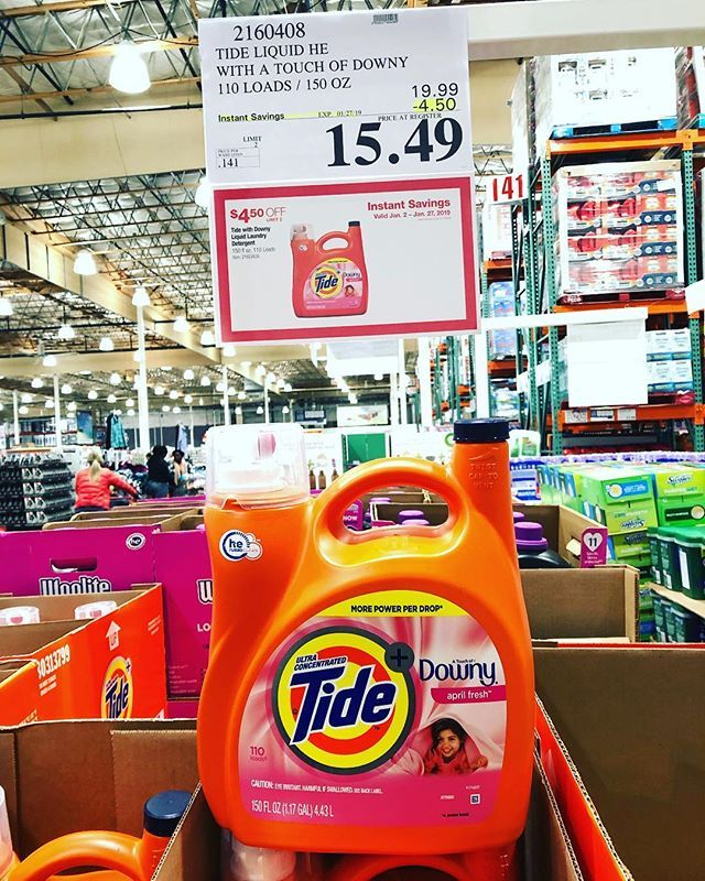 1ee38c84fd24  tidelaundry with a touch of  downy 150oz    110 loads on sale  4.50 off  now only  15.49  deal ends 1 27  costcodeals  costco  laundry  tide   ...