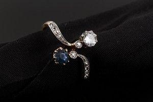 Vintage safir og diamantring | Lauritz.com