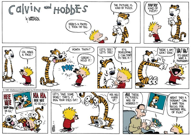 "Calvin and Hobbes for Sunday, March 12, 2017 / Before there were smartphones there was Polaroid. / Now its, ""What's film? What's Polaroid?"""