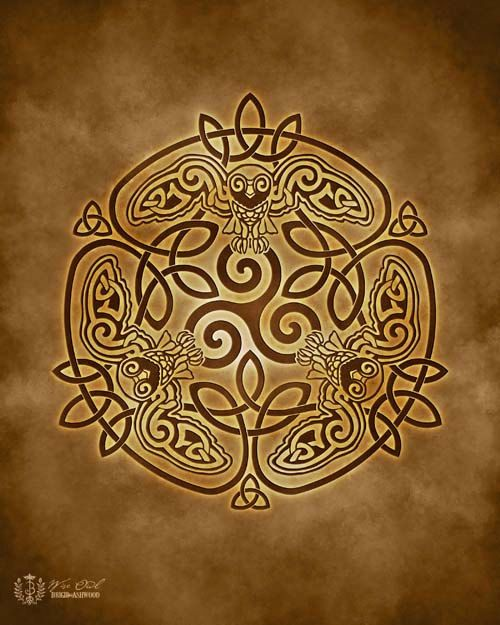 Wise Owl Celtic Owl Triskele Knotwork   Pagan by BrightArrow, $15.00