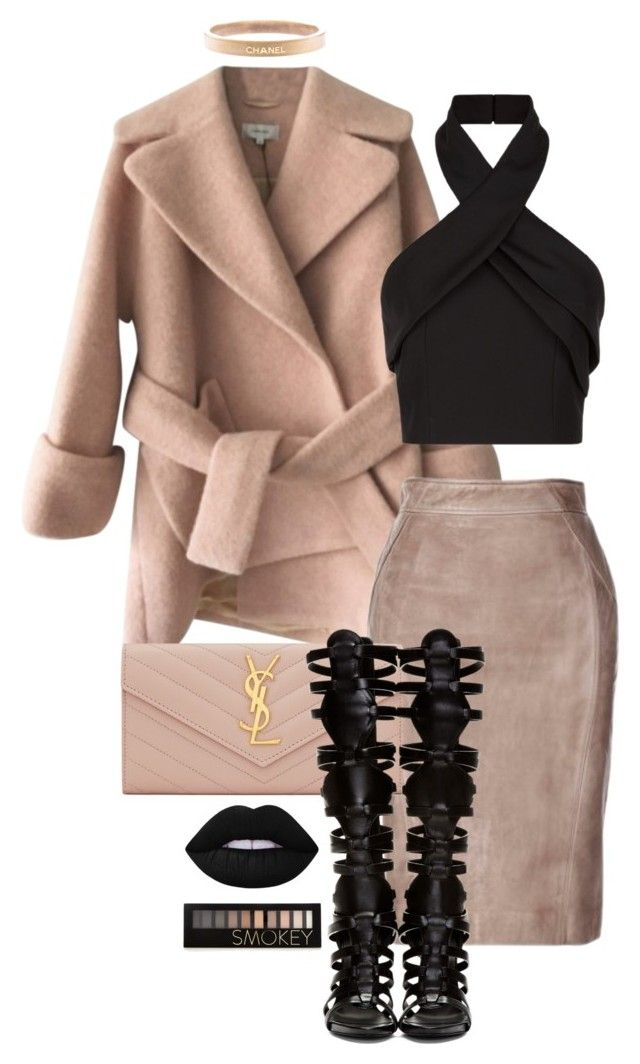 """fade to black"" by minkstyles ❤ liked on Polyvore featuring Carven, Finders Keepers, Chanel, Yves Saint Laurent, Giuseppe Zanotti, Lime Crime, Forever 21, women's clothing, women and female"