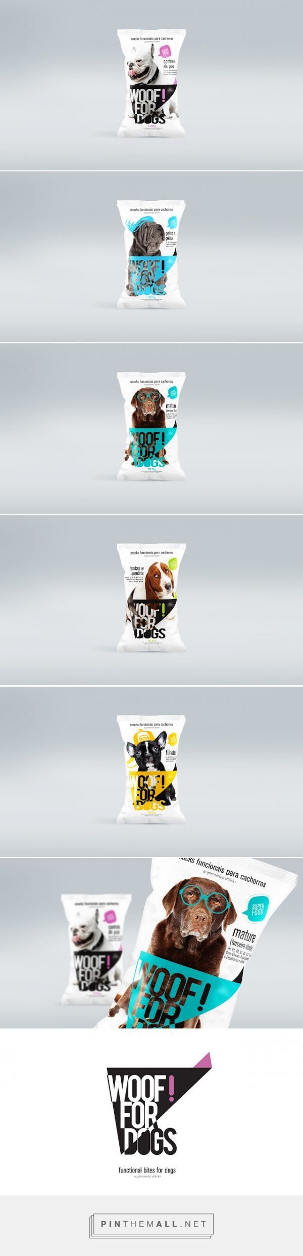 WOOF! FOR DOGS snack packaging designed by Agência BUD - http://www.packagingoftheworld.com/2015/10/woof-for-dogs.html