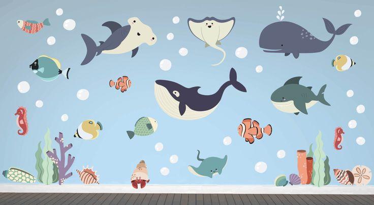 Ocean Nursery - Ocean Wall Decals - Ocean Wall Art - Ocean Kids Room - Ocean Wall Decor - Ocean Theme Nursery - Ocean Theme Room by YendoPrint on Etsy https://www.etsy.com/listing/456499804/ocean-nursery-ocean-wall-decals-ocean