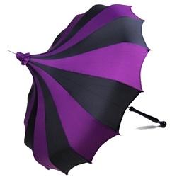 Bella Umbrella Custom Pagoda - Black and Purple Striped Umbrella