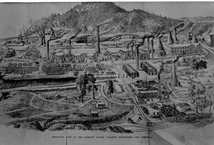 Lithograph shows the Lithgow Valley Colliery and Pottery in the mid 1880s.A♥W