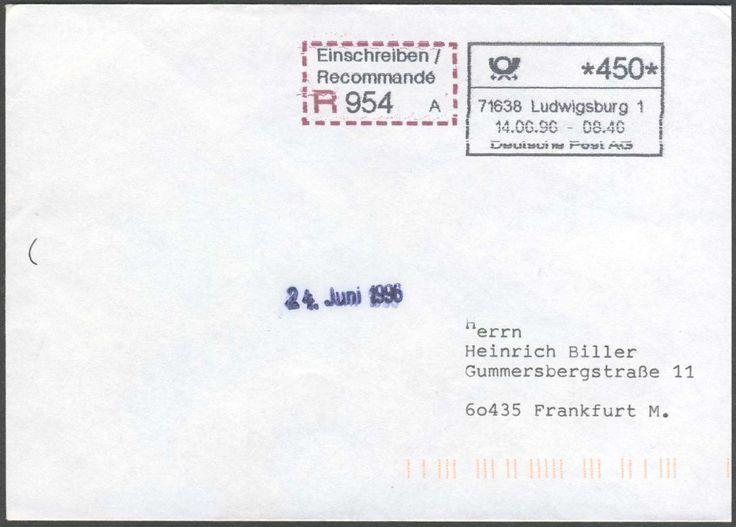 Germany, 14.6.1996/Bund, ABAS 1/=autom.Betriebsannahme-System, Ludwigsburg/ Wilhelmstraße, IBM-Automat 1 Jahr als Betriebs-Versuch, seltener R-Brief mit ATM Eindruck, mit Gebühren-Quittung und R-Zettel. Price Estimate (8/2016): 15 EUR.