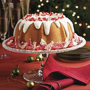 Vanilla Butter Cake With Fluffy Wintry-White Icing and Sparkling Peppermint Candy