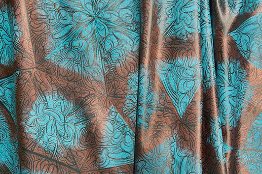 3 colour block print on double sided Thai silk. Would make a statement as soft furnishings.