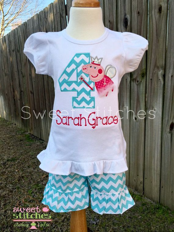 Peppa Pig Birthday outfit by StitchedsoSweet on Etsy
