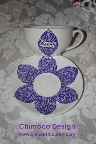 Hand-painted and drawn glass and ceramic pieces by Sydney-based Chimoco Design. www.china86mc.etsy.com #Chimoco Design # tea cup #flower #gift #request #ceramic #kitchen #home decor #nanny #floral