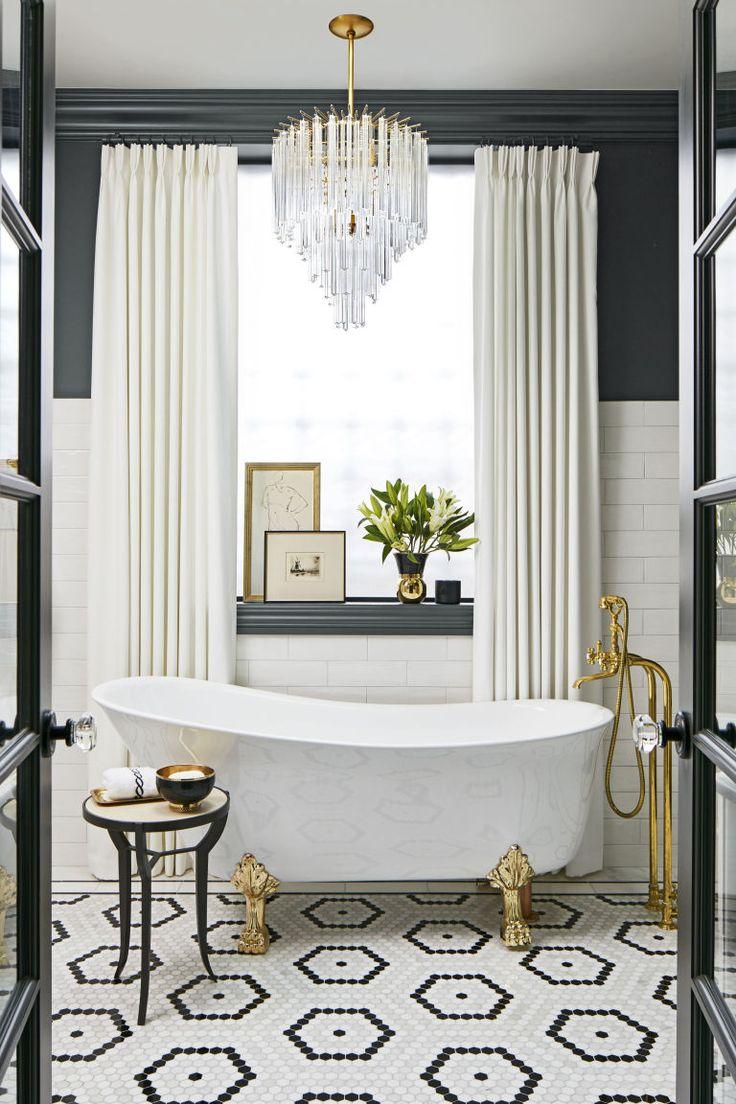 Luxurious hexagon tiles make a luxurious bathroom!