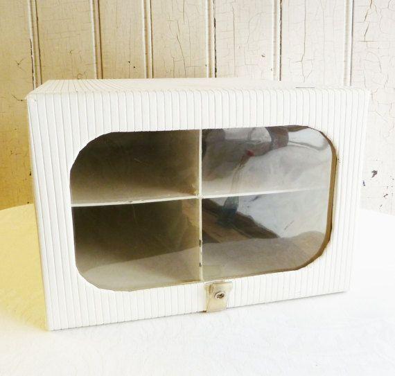 Vintage Ribbed Vinyl Shoe Storage Box  Wardrobe by KitschyVintage
