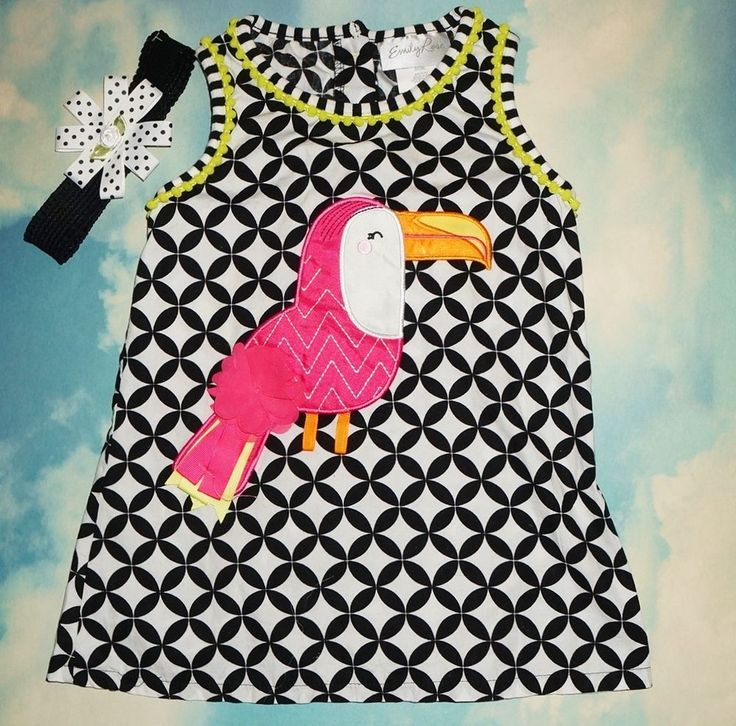 EMILY ROSE Girls Pink Toucan Tunic Size 5 w Matching Hair Bow EUC #EmilyRose #Everyday