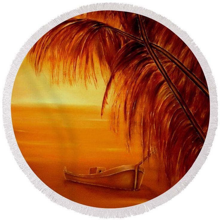 Round Beach Towel,  orange,brown,accessories,cool,trendy,fancy,beautiful,unique,awesome,modern,artistic,fashionable,unusual,for,sale,design,items,products,ideas,tropical,palmtrees,sunset