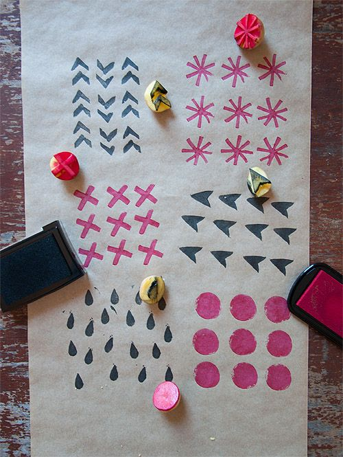 Make your own wrapping paper - with potatoes and stamp pads!