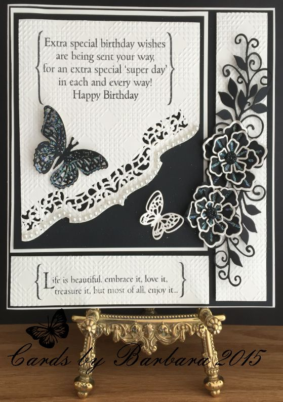 Phills' Crafty Place: Black and Cream by Barb - Featuring The Bracket Birthday and Inspirational Stamps