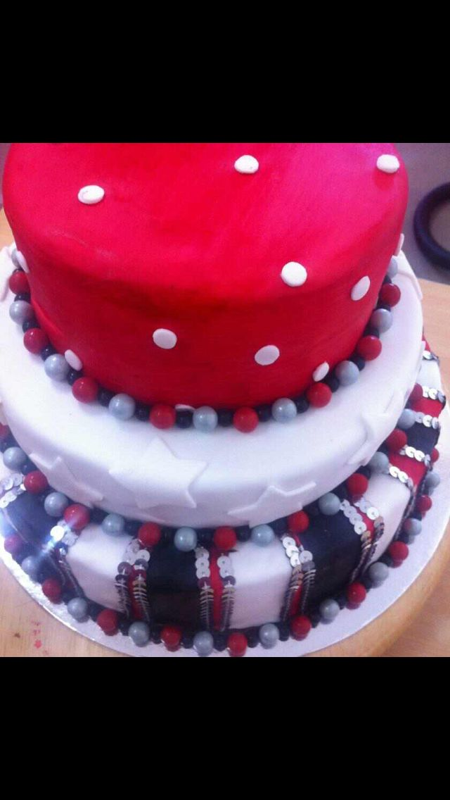 21st red,black and white cake