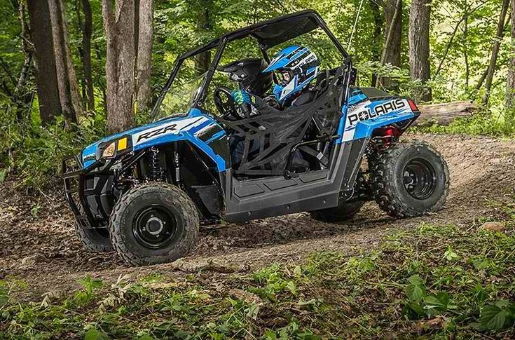 As the industry's only youth side-by-side, the RZR 170 EFI is designed to give kids 10 years and older the joy of driving while providing safety features parents will love. #Polaris #Industries #RZR170 #EFI #VooDoo #Blue #SideXSide #youth