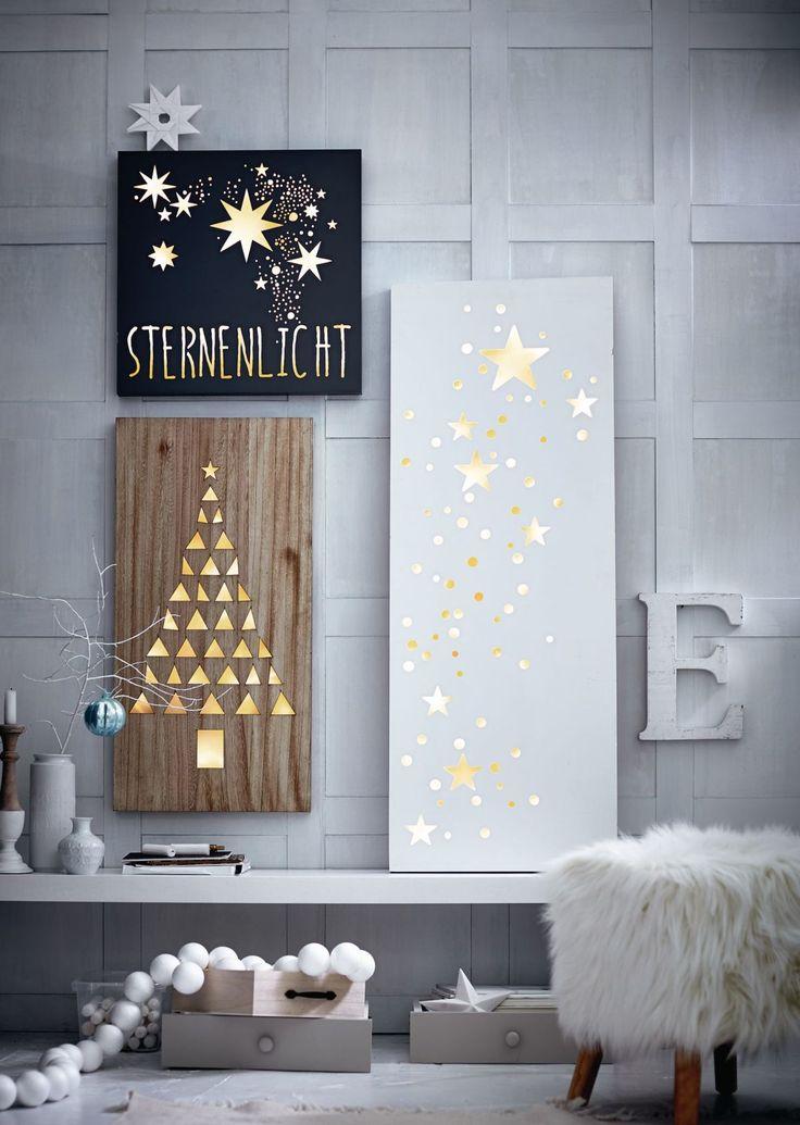Romantischer Schein: Unzählige grazile Sterne und Kreise verbreiten ein magisches Flair, wenn insgesamt 38 warmweiße LEDs die filigran ausgestanzten Motive auf der lackierten Holzplatte von hinten stimmungsvoll beleuchten. #Sterne #Weihnachtsdeko #Impressionenversand