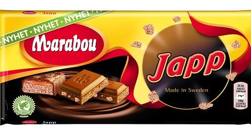 Marabou Japp Swedish chocolate bar  This chocolate bar is one of their snacks that they tend to eat