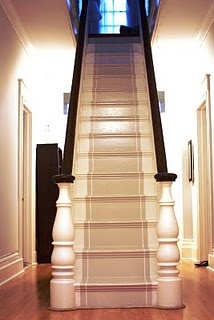 painted stairs with painted runner.    Want for downstairs