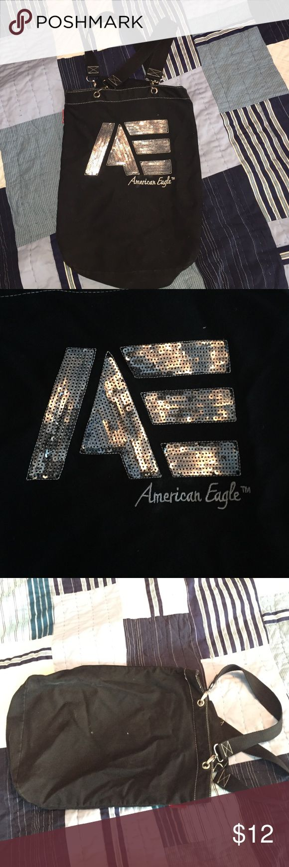 American Eagle bag Black cloth bag with sequin design on front. Plain black back and two straps. Used it to carry folders to class. Washable. American Eagle Outfitters Bags Shoulder Bags