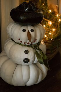 Pumpkins painted white - already have 3 white pumpkins stacked  on an urn for my Fall deco - just need to add coal, a carrot, and a hat and I'll have Christmas started! Love this!!!