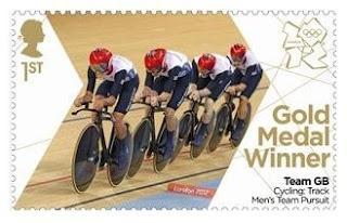 Gold Medal Winner stamp #7 - Cycling: Track Men's Team Pursuit, Ed Clancy, Geraint Thomas, Steven Burke and Peter Kennaugh.