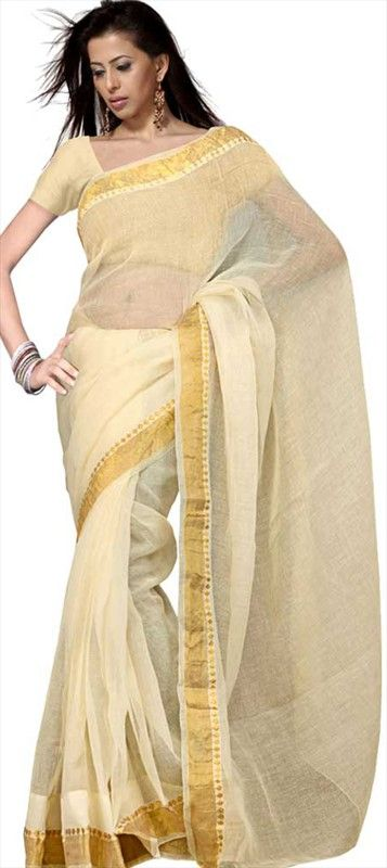 116399: Traditional South Indian Look #Saree #onlineshopping #white