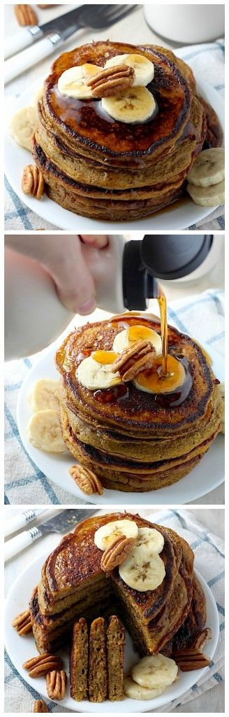 The Pumpkin Pancakes of Your Dreams - these #healthy #pumpkin pancakes are so light, fluffy, and easy to make! No one ever guesses they're healthy, too!!! A must make this Fall!