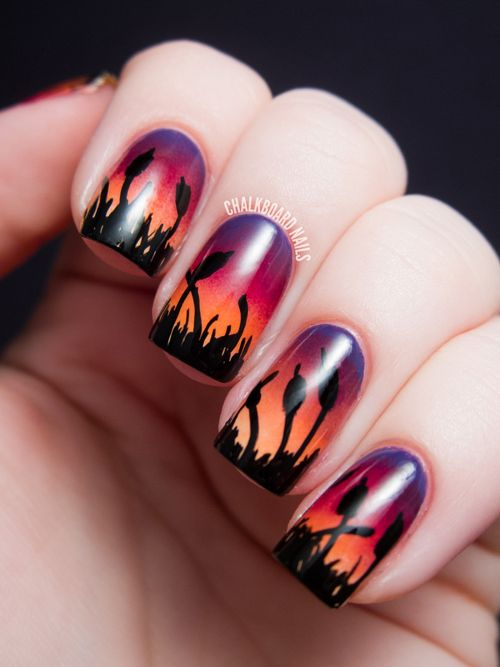 chalkboard nails for alllacqueredup cattails sunset ombre gradient nail art Guest Post   Cattails at Sunset Nail Art by Chalkboard Nails