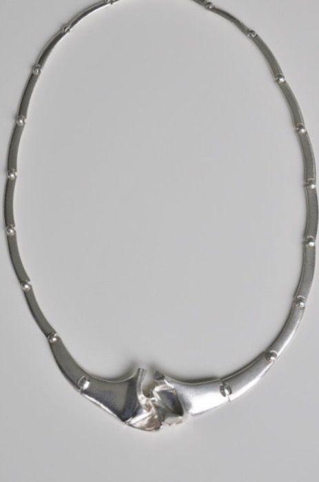 Björn Weckström for Lapponia Jewelry (FI), 'Croos Waves' sterling silver modernist necklace, 1987. #Finland | finlandjewelry.com