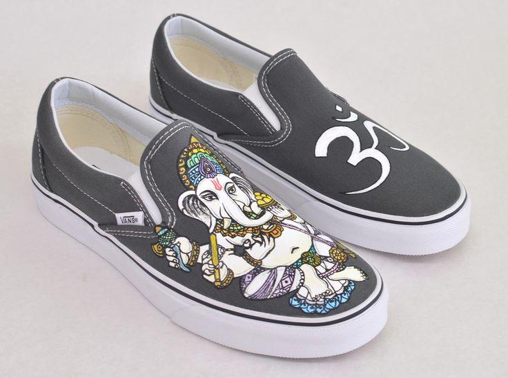 Custom Hand Painted Ganesh Slip on Vans