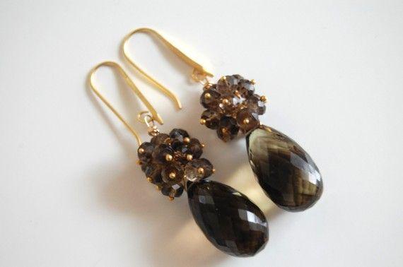 Shoply.com -Bi-colour Smoky quartz briolette  earrings. Only C$65.00