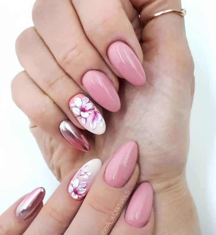 Pink Gel Almond Nails Design With Flower Acrylic Short Almond Nails Natural Al Almond Acrylic Nails Short Almond Nails Acrylic Nail Shapes
