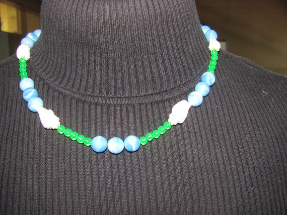 Blue beaded green and Shell necklace. 24 inches by StudentShop13