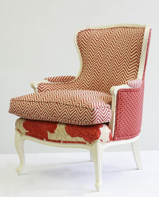 Mixing fabric patterns on upholstered chair.(NB: images we like, not products of Chichi)