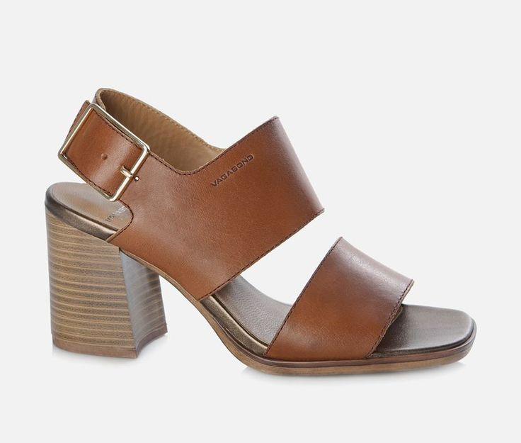 Vagabond - LEA. Trendy sandal crafted from brown leather and with a pretty ankle buckle. We love the characteristic shape of the heel inspired by the 70's.