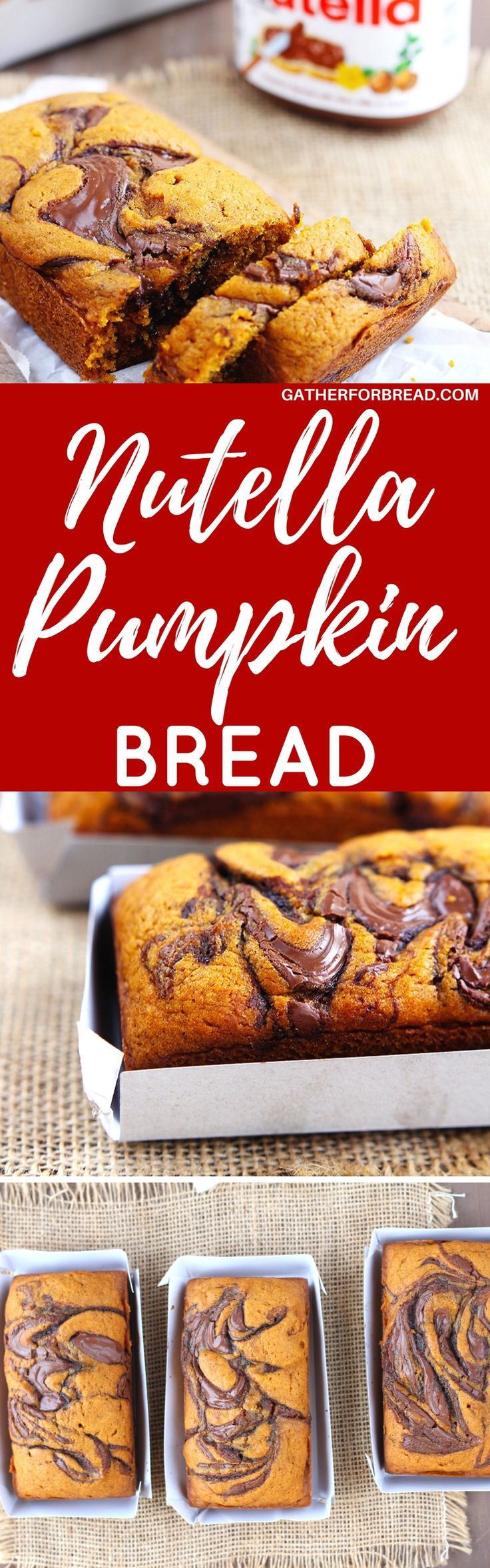 Nutella Swirled Pumpkin Bread - Fall pumpkin loaves swirled with a good dose of Nutella