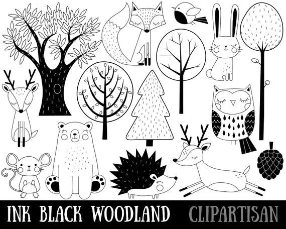 Woodland Animals Clipart Nursery Woodland Printable Black And White Animals Woodland Animals Clipart Animals Clipart Animals Black And White