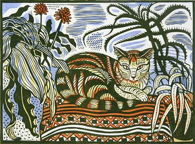 Richard Bawden - do linocut of hilary's cats, plants and rug!