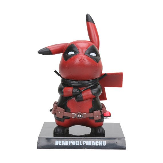 """Pokemon Deadpool Pikachu """"Pikapool"""" Figurine, Pikachu Deadpool Marvel Figure Collectible Model Toy"""