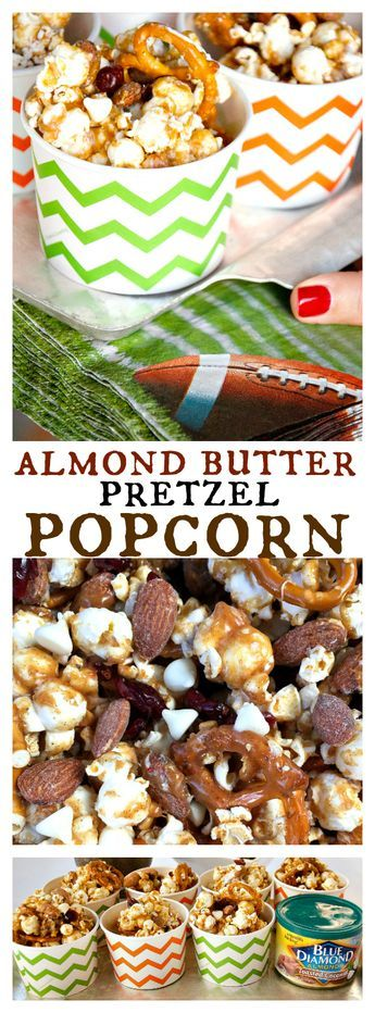 Almond Butter Pretzel Popcorn Snack Cups for Game Day: