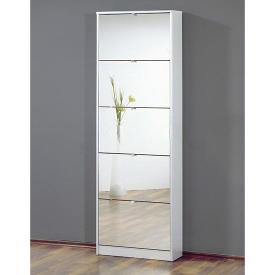 Tall Mirrored Shoe Storage Cabinet With Five Drawers 3614 84