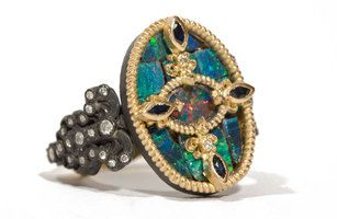 Armenta's 18-karat yellow gold and oxidized sterling silver ring with boulder opal mosaic, white diamonds and blue sapphires ($2,190).
