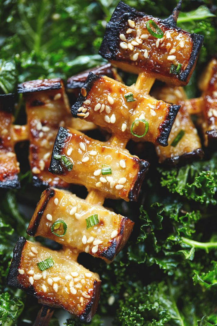 Jan 20 Miso Glazed Eggplant Kebabs with Kale Seaweed Salad
