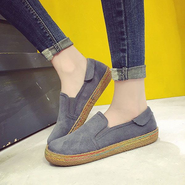 Big Size Scrub Comfortable Casual Round Flat Shoes For Women