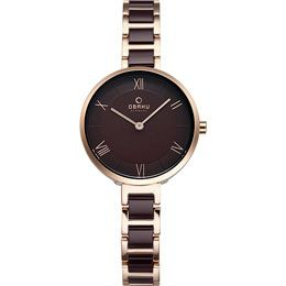 OBAKU Vand - coffee // rose gold and brown stainless steel watch
