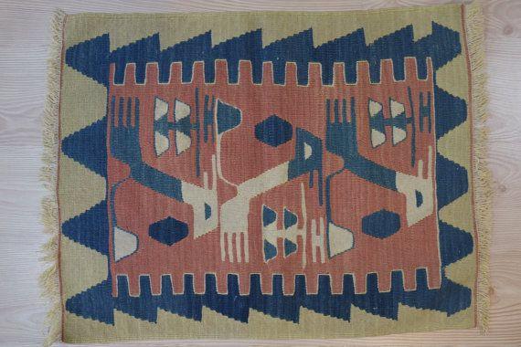 Handwoven Wool kilim rug-Small handmade rug-mini kilim by kilimci